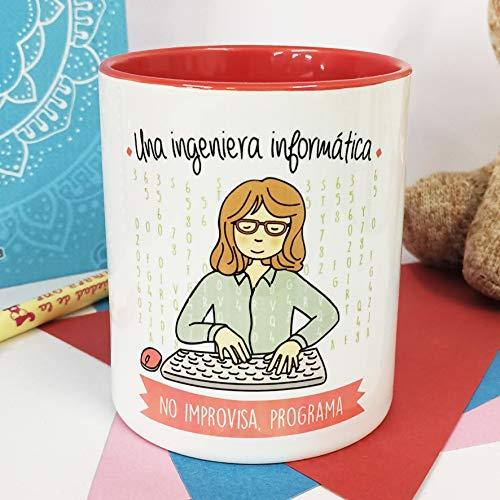 La Mente es Maravillosa - Taza frase y dibujo divertido (Una ingeniera informática no improvisa, programa) Regalo INGENIERA NFORMÁTICA