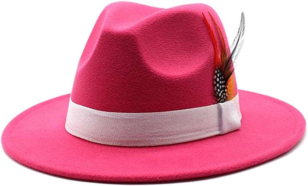 Women's and Men's Classic Wide Brim Panama Fedora Hat Wool Jazz Hat Daily Travel Cowboy Hats with Decoration Rose Red