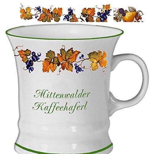 magicaldeco Porzellan- Tasse, Kaffeepott, Haferl - Mittenwald- Traubenranke - deutsches Produktdesign