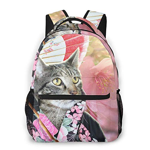 Lawenp Fashion Unisex Backpack Cute Cat Japanese Woman Bookbag Lightweight Laptop Bag for School Travel Outdoor Camping