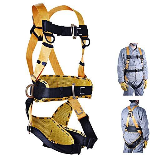 QPFH Absturzsicherung Sicherheitsgurt, Gemütlich Roofing 5D-Ring Ganzkörper-Klettergurt für Luftlift, Hüttenarbeiter, Baugerüst, Turm, Baumklettern, Baumaschinen