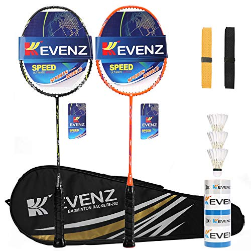 KEVENZ Badminton Racket Set, 2 Carbon Fiber Badminton Racquet, 3 Goose Feather Badminton Birdie, 2 Racket Grip and 1 Carring Bag