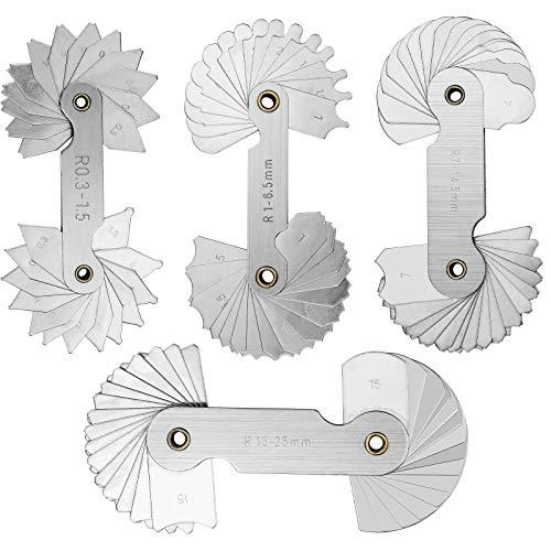 Inntek 4 pcs Inntek Strumento di misura convesso convesso in acciaio inossidabile con calibro a ragg R0.3-1.5 / R1-6.5 / R7-14.5 / R15-25