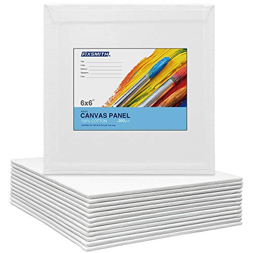 FIXSMITH - Paneles de lienzo de 15,2 x 15,2 cm, 12 unidades, 100% algodón, tablero cuadrado de lona, mini lienzo, pizarras de lienzo...