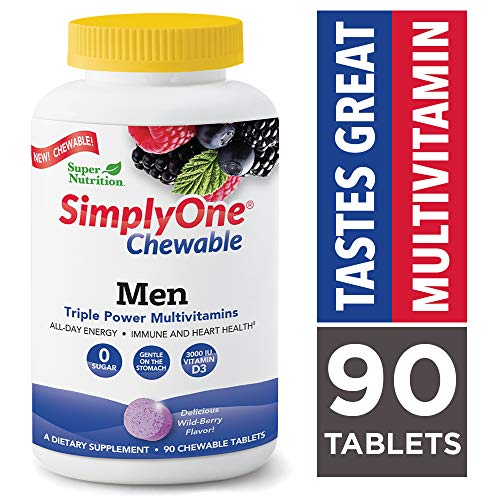 SuperNutrition, SimplyOne Multi-Vitamin for Men, High-Potency One/Day Chewable Tablets, Wild Berry, 90 Day Supply