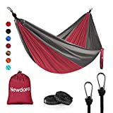 Newdora Camping Hammock with Tree Straps Portable Lightweight Nylon Hammock, Parachute Double Hammock for Backpacking,Camping,Travel,Beach,Yard.105(L) x 56'(W).(Wine Red & Dark Grey)