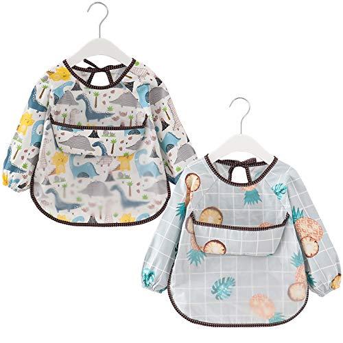 atopo 2 Paquetes Babero con Mangas Largas Impermeable Baberos de Alimentación para Bebés Algodón Delantal Lavable del Bebé por 3-36 Meses Niños Comiendo Pintura y Jugando