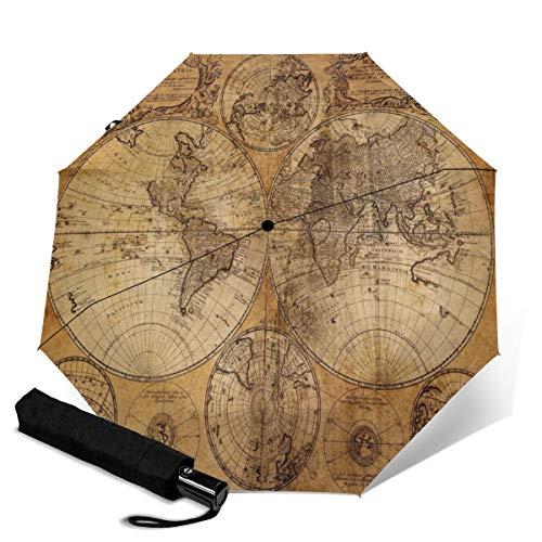 Automatischer Regenschirm, mittelalterliche Weltkarte, Regenschirm, schützt Dicker Sonnenschirm, stark, stabil, Winddicht, Regenschirme, klein, leicht, faltbar, für Damen und Herren im Freien