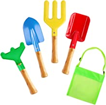 "8"" Kids Gardening Tools 5-Piece Set, Metal with Sturdy Wooden Handle Safe Garden Tools Trowel, Fork, Rake & Shovel, Beach ..."