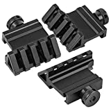 Gogoku 45 Degree Rail Mount 4 Slots Picatinny Weaver Rail for Flashlights Laser Red Dot Sight Optics,3 Units in Pack