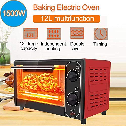 12L 1500W Household Mini Electric Oven, RVS broodbakmachine, Huiselijk leven Keuken Brood Broodrooster, Pizza Cake Maker, tijd en temperatuur kan worden gecontroleerd, Red, Red 8bayfa (Color : Red)