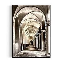 現代美術キャンバスプリント壁の装飾、教会の長い廊下、家の装飾建築建築絵画、50 x 70 cm (Color : 4, サイズ : White frame)