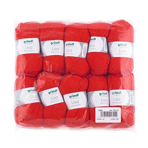 Gründl Lisa Premium Wolle, Polyacryl, signalrot, 133 m, Nadelstärke 3,5- 4,5, 10er Pack