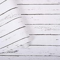 QianChi ホワイトグレーウッド 粘着紙 17.7インチ X 32.8フィート 取り外し可能な木製ピールアンドスティック壁紙 装飾壁カバー ヴィンテージ木製パネルインテリアフィルム