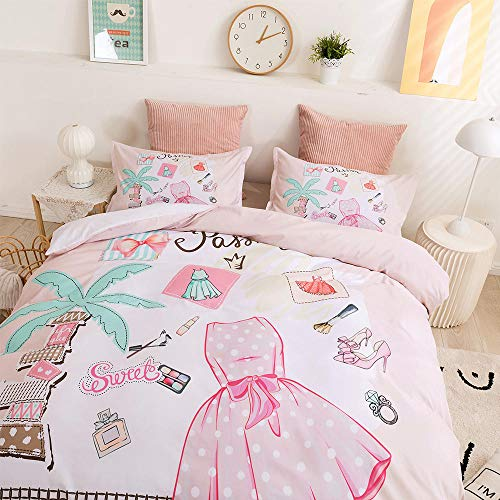 AHKGGM Duvet cover set Double Pink perfume girl Bedding 3 pcs Microfiber duvet cover 79x79 inch with zipper closure And 2 pillowcases 20x30 inch -for adults and children's bedrooms