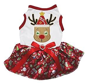 petitebelle Tutu Robe Coton mignon de Noël Renne Blanc Bonhomme de neige pour chien Rouge