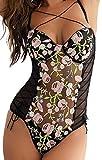 Lencería de Mujer Body Bordado de Encaje Floral Una Pieza Lencería con Tiras de Peluche Conjunto de Ropa Interior