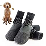 Dog Boots, Waterproof Dog Shoes, Easy to Wear Dog Booties with Shoelaces Reinforcement, Anti-Slip Breathable...