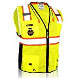 KwikSafety (Charlotte, NC) BIG KAHUNA (11 Pockets) ANSI Class 2 OSHA Construction Safety Vest Reflective High Visibility Heavy Duty Surveyor Mesh with Zipper and Hi Vis for Work Men Yellow X-Large