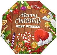 メリークリスマスサンタクロースオートアンブレラ防風コンパクトウィンタースノーフレークジンジャーブレッドマンアンブレラトラベルサンレインアウトドア