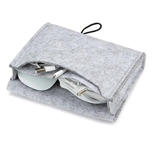 Nidoo Tragbare Filztasche für Maus, Handy, Kabel, tragbare Festplatte, Powerbank etc. Grau