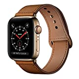 KYISGOS Compatible with iWatch Band 44mm 42mm, Genuine Leather Replacement Band Strap Compatible with Apple Watch Series 5 4 3 2 1 42mm 44mm, Retro Brown Band