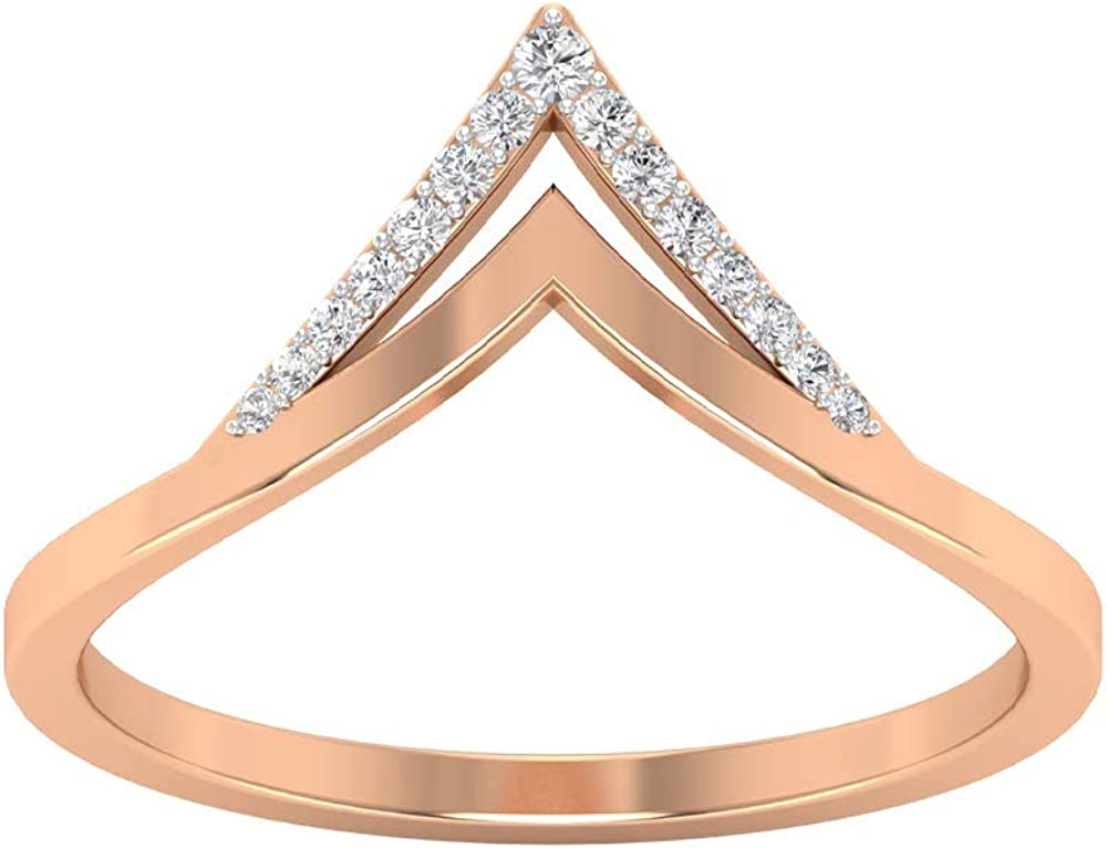Ring Enhancer Curved Ring, D-VSSI Moissanite Ring, Chevron Wedding Band, Stackable Bridesmaid Ring, Simple Anniversary Ring, Daily Wear Ring, 14K Gold