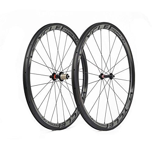VCYCLE Nopea 40mm Fibra de Carbono Carretera Ruedas 700C Bicicleta Rueda 25mm Anchura Remachador Ultra Ligero Shimano o Sram 8/9/10/11 Velocidades