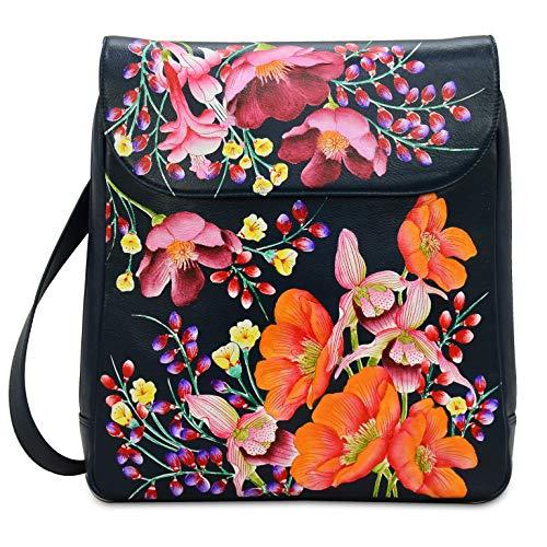 Anuschka Women's Genuine Leather Large Convertible Flap Backpack |Hand Painted Original Artwork|Moonlit Meadow