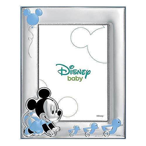 Marco Portafotos Plata Ley 925M Disney Foto 9X13Cm. Mickey Bilaminado Baby Patitos Celeste