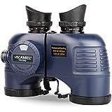 10X50 Prismáticos Marinos para Adultos Impermeable con Brújula Brújula BAK4 a Prueba de Niebla Prism Lens Binocular Militar para Navegación Observación de Aves y Caza
