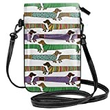 Women Small Cell Phone Purse Crossbody,Cartoon Style Dachshunds Dressed In Pyjamas Chevron Lines Polka Dots And Hearts