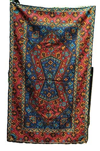 Kotsa | Seidenteppich | Kaschmiri Teppich | Handgemachter Seidenteppich | Geometrischer Teppich | Teppich für Schlafzimmer | Bodenteppich | Fliesenteppich | KC23