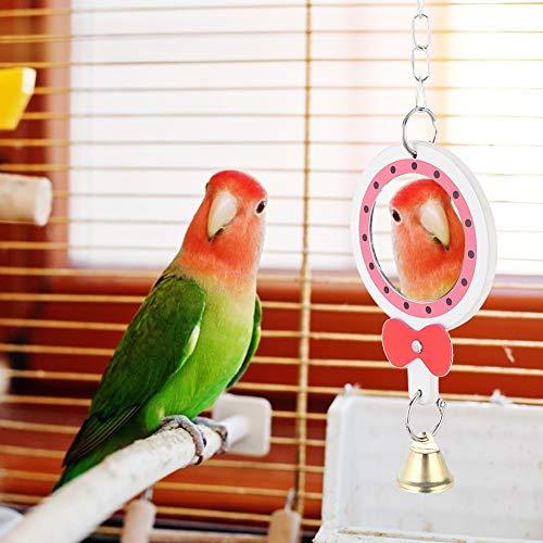 Meiyya Disfrute de Verano Juguete del Loro, Espejo del pájaro, Jaula Colgante del pájaro del Columpio para el Loro