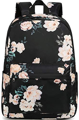 laptop bags for teen girls School Backpack for Teen Girls Bookbags Elementary High School Floral Laptop Bags Women Travel Daypacks (Black flower)