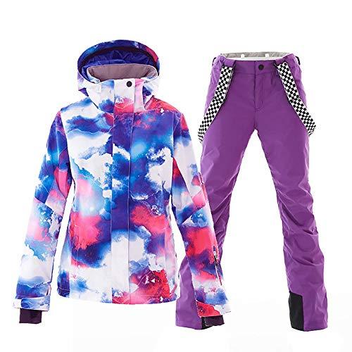 Mous One Women's Waterproof Ski Jacket Colorful Snowboard Jacket and Purple Bib Pants Suit(S)