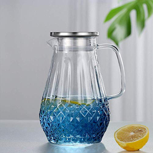 Zixin Explosion-Proof Cold Kettle Glass Household Heat-Resistant Cold Kettle High Tempature Large Capacity Cool White Open Kettle Set-1500Ml Wat Bottle (Size : 1500ML water bottle)