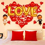 WZhen Fiesta De La Boda Decoración Amor Corazones Forma Globos Set - Rojo