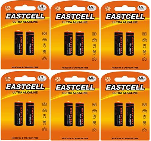 EASTCELL 12 x LR1 / N/Lady 1,5V (6 Blister a 2 Batterien) Quecksilberfreie Alkaline Batterien 4001, 4901, MX9100, 910A EINWEG Markenware