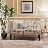 Christopher Knight Home Devlin White and Blue Floral Fabric Love Seat