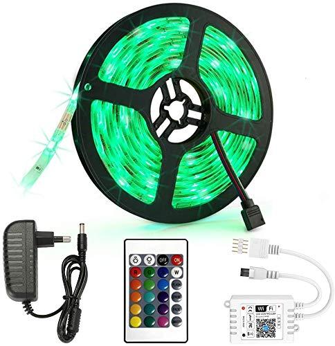 Striscia LED RGB 5 m, 12 V, 2 A, 150 LED, per illuminazione interna, letto da cucina, striscia di illuminazione flessibile di bar, con telecomando e controller, tagliabile