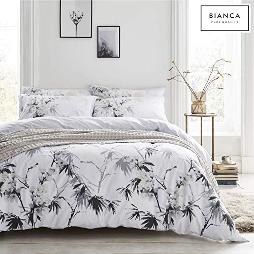 Bianca Kyoto Bettwäsche-Set für Einzelbett, Baumwolle, Weiß/Grau
