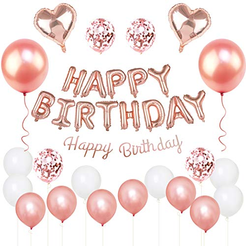 GRESATEK Birthday Balloons, Decoration, Balloon Set, Happy Birthday Garland, Heart Balloons, Confetti Balloons, Dot Seals, Ribbon Included, Decoration, Parties, Celebrations, Surprises, Rose Gold