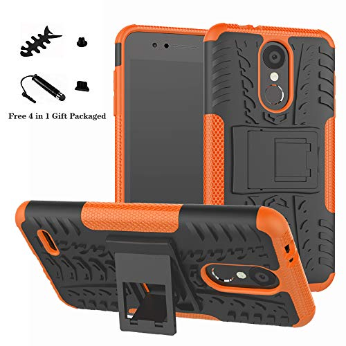 LiuShan LG K8 / K9 2018 Hülle, Dual Layer Hybrid Handyhülle Drop Resistance Handys Schutz Hülle mit Ständer für LG K8 2018 / K9 2018 Smartphone (mit 4in1 Geschenk verpackt),Orange