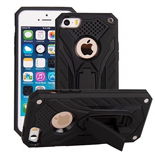 Funda iPhone 5 Negro - MUTOUREN 2 en 1 PU+ PC Híbrido Resistente a Prueba Golpes Kickstand Robusto Defender Cover Case para iPhone SE/5/5S