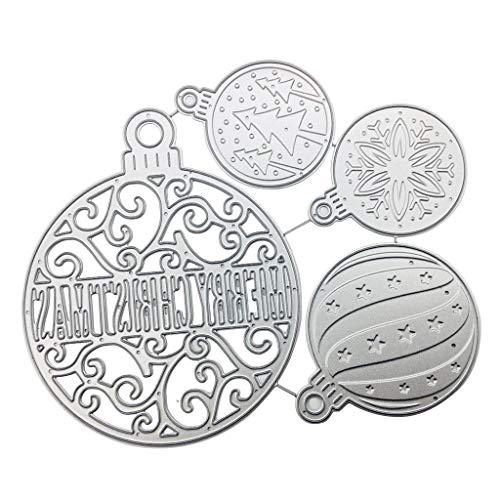 Mikiya kerstbal van metaal met doodskopmotief, sjabloon, scrapbooking, album, postzegels, papier, kaart, handwerk decoratie