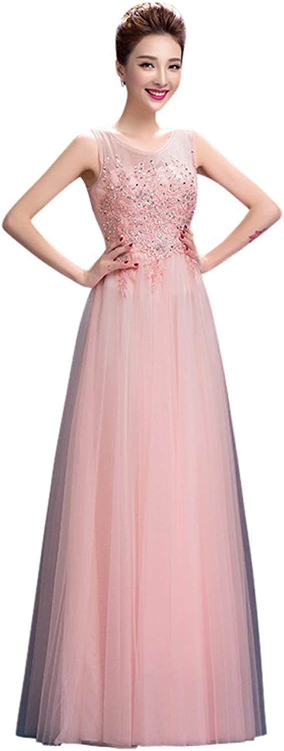 Drasawee Women's Long Tulle Sequins Beaded Bridesmaid Wedding Formal Party Dress Pink US2