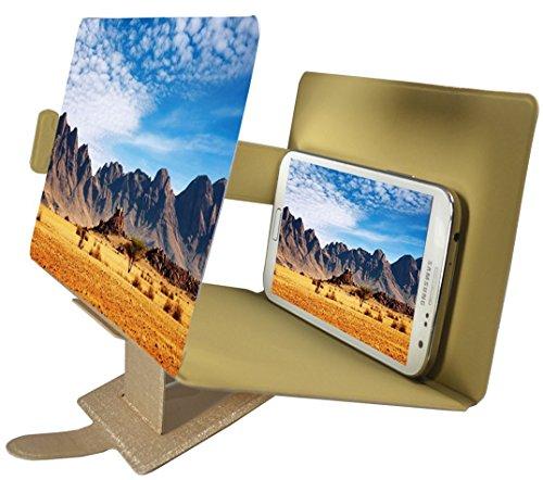 Universal tragbarer Falten Smartphone 3D Screen Magnifier für alle Smartphone Arten. Smartphone Bildschirm Vergrößerungslupe mit 3D Effekt. Gold