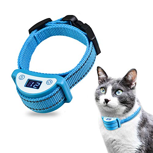 Paipaitek Cat Shock Collar,Automatic Trainer Collar for Cats Prevent Meowing Designed,Sound Vibrate and Shock 3 Working Modes for Cats and Kittens - Waterproof & Rechargeable