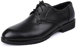 CAIFENG Negocio Formal Oxford para Hombres Zapatillas de Vestir de Moda Lace Up Cuero Genuino Toe Redondo Talón Plano Taló...